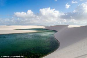 Brésil, parc national des Lençois, une lagune verte au milieu des dunes