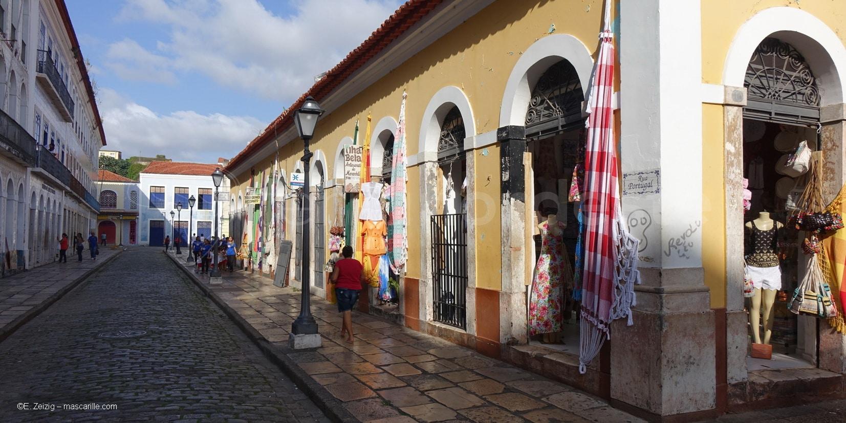Brésil, Sao Luis, rue du centre historique colonial