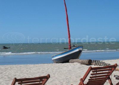 Jericoacoara au brésil, bateau jangada plage