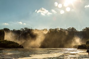 Brazil, Iguacu Falls at sunrise