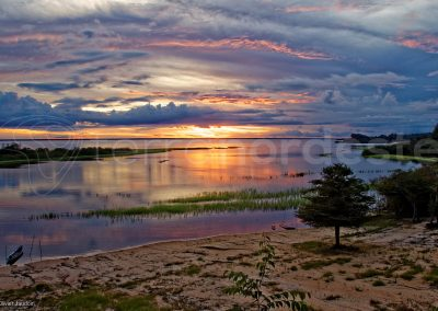 Coucher soleil rivage Rio Negro Brésil