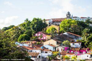 Brésil, Olinda - maisons colorées