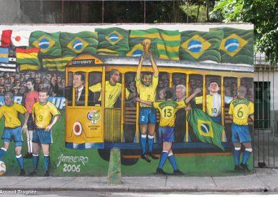 Bresil, Rio Janeiro - Santa Teresa, fresque football selecao